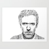 house md Art Prints featuring Hugh Laurie, House MD by Milicule