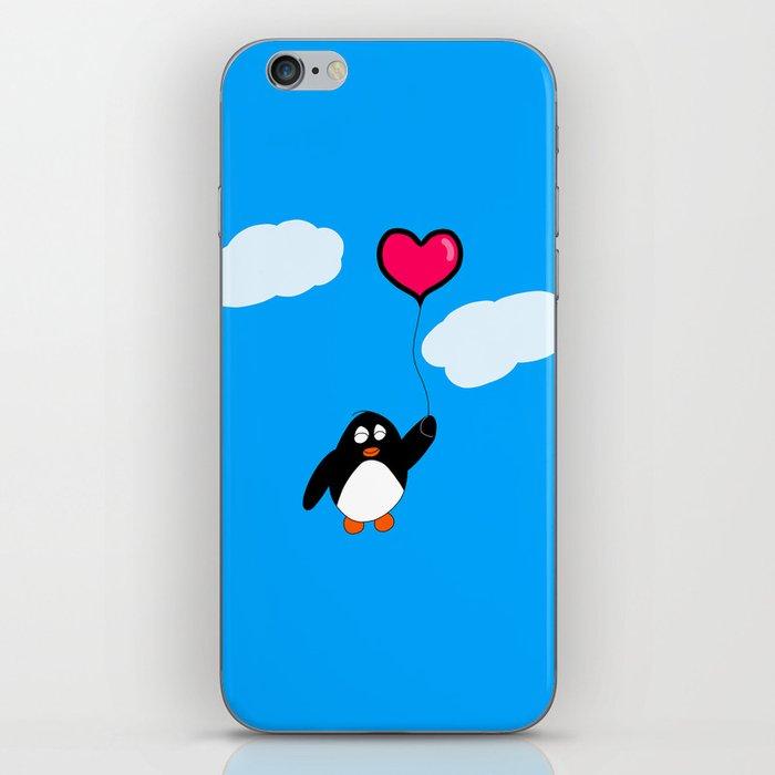 Penguin with Heart Balloon iPhone Skin