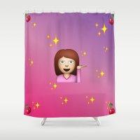 emoji Shower Curtains featuring Posh Emoji by jajoão