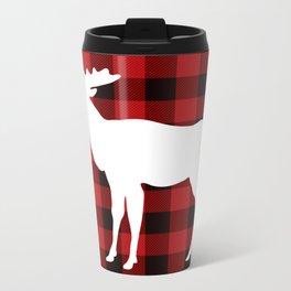 White Moose | Red Buffalo Plaid Metal Travel Mug