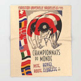 Retro cycling world championships 1935 Brussels Throw Blanket