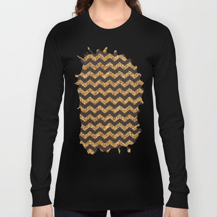 Bistre Gold Glitter Chevron Pattern Long Sleeve T-shirt