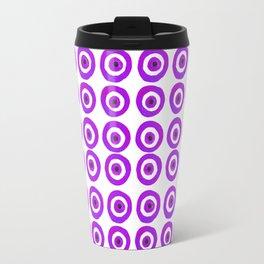 Evil Eye Amulet Talisman in Purple on White Travel Mug
