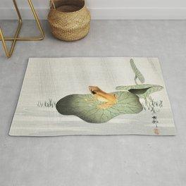 Ohara Koson, Frog On Lotus Leaf - Vintage Japanese Woodblock Print Art Rug