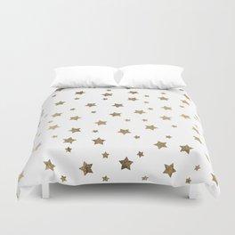 Modern gold Christmas stars geometric pattern Duvet Cover
