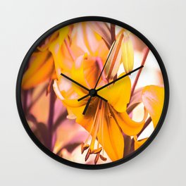 Yellow Lilies In The Garden #decor #society6 #buyart Wall Clock