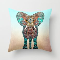 BOHO SUMMER ELEPHANT Throw Pillow