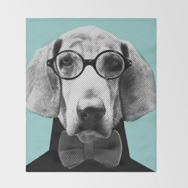 Mr Italian Bloodhound the Hipster Throw Blanket