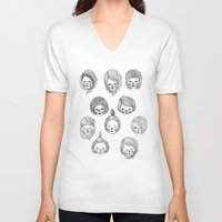 girls V-neck T-shirts featuring Girls by Young Ju