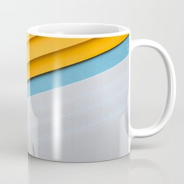yellow white abstraction blue background yellow paper white paper material design Coffee Mug