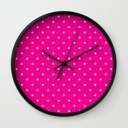 Small White Polka Dots with Pink Background Wall Clock