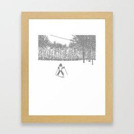 Little Skier II Grey Framed Art Print