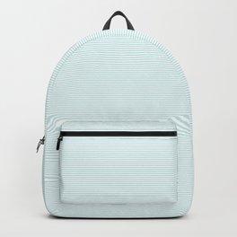 Duck Egg Pale Aqua Blue and White Horizontal Thin Pinstripe Pattern Backpack