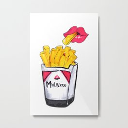 SMOKING FRIES Metal Print