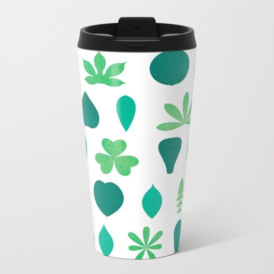 Leaf Shapes and Arrangements Pattern Bright Metal Travel Mug