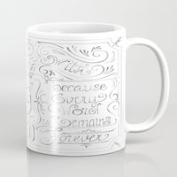 calligraphy Mugs featuring Julie's Calligraphy by Julie's Fabrics & Thingummies