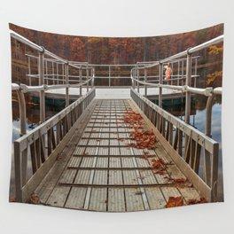 Autumn Lake Boardwalk Wall Tapestry
