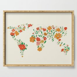 Floral World Map Serving Tray