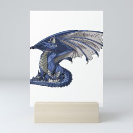 Blue Water Dragon Mythological Creature Gift Mini Art Print