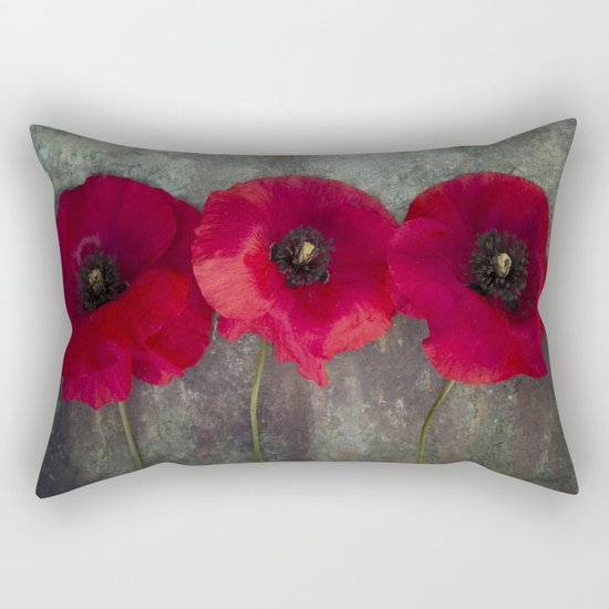 Three red poppies Rectangular Pillow
