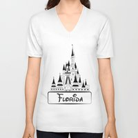 florida V-neck T-shirts featuring Florida by Harkiran Kalsi
