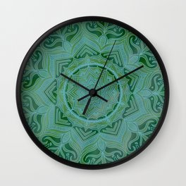 Green Swirl Mandala II Wall Clock