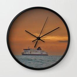 Ferry At Sunrise Wall Clock