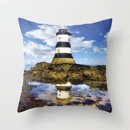 Penmon Lighthouse Painting Throw Pillow