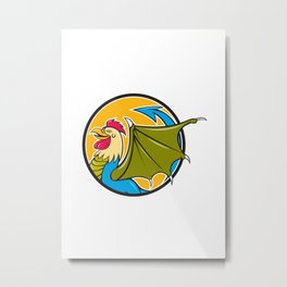 Basilisk Bat Wing Circle Cartoon Metal Print