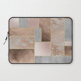 Copper and Blush Rose Gold Marble Quadrangle Geometrical Shapes Laptop Sleeve
