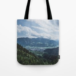 Beautiful austrian town between the mountains Tote Bag