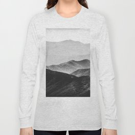 Glimpse - Black and White Mountains Landscape Nature Photography Long Sleeve T-shirt