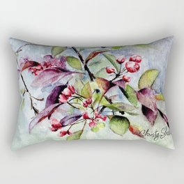 Branch With Blossoms Watercolor Rectangular Pillow
