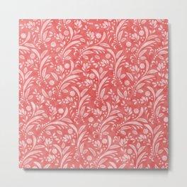Floral Pattern in Velvet Texture Metal Print