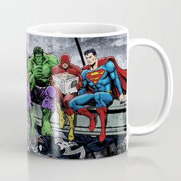 Superhero Lunch Atop A Skyscraper Coffee Mug