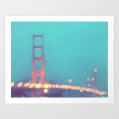 la nuit. San Francisco Golden Gate Bridge photograph Art Print