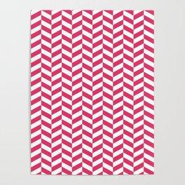 Cerise Red Herringbone Pattern Poster