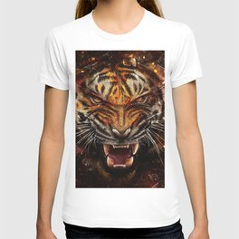 Angry Tiger Breaking Glass Yelow T-shirt