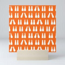 Scuba Diving White Fins on Orange Mini Art Print