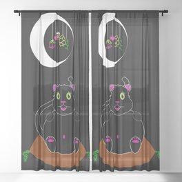 Black Kitty under a Waning Moon Sheer Curtain