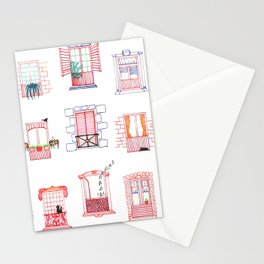 Stay home, stay safe - Rome windows and balcony pattern Stationery Cards