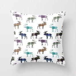 Plaid Moose III Throw Pillow