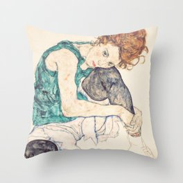 Sitting Woman With Legs Drawn Up Throw Pillow