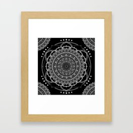 Black and White Geometric Mandala Framed Art Print