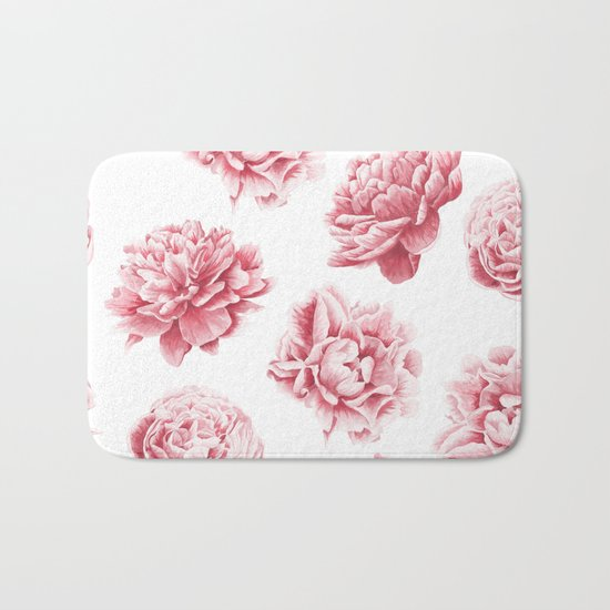 Pink Rose Garden on White Bath Mat