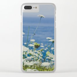 Flowers by the Beautiful Blue Sea Clear iPhone Case