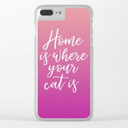 Home is Where Your Cat Is - Sunset Clear iPhone Case