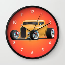 Classic American 32 Hotrod Car Illustration Wall Clock