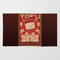 revolution Area & Throw Rugs featuring Tofu Revolution by Jesse Kuhn