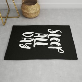 Sleep All Day typography wall art home decor in black and white Rug